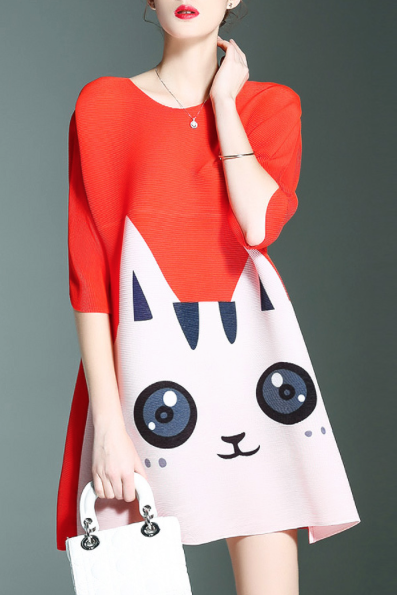 robe-dezzal-imprimee-chat-rouge