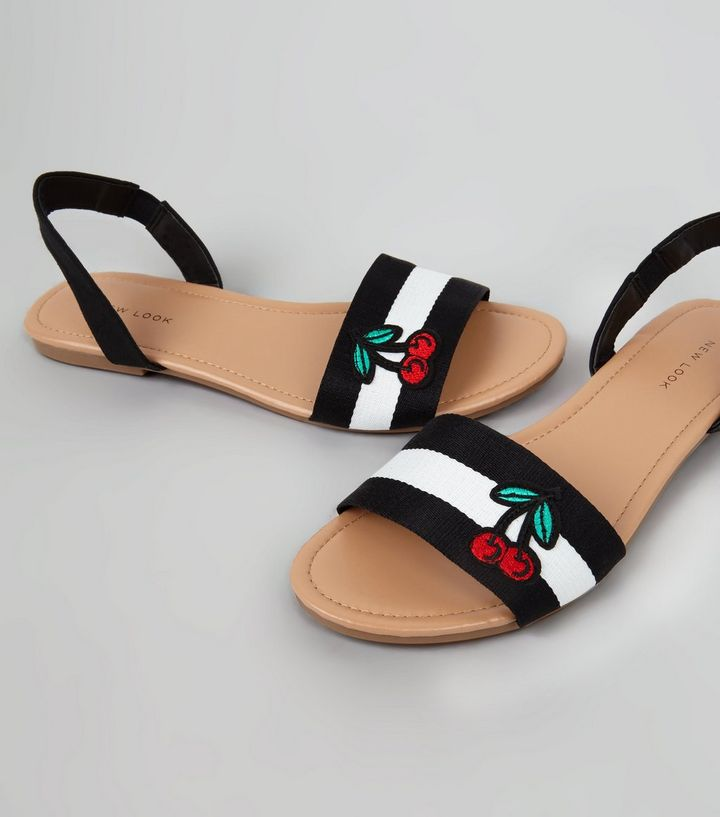 black-stripe-applique-cherry-sandals